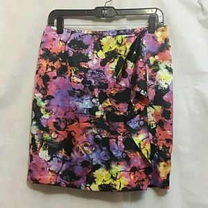 Vince Camuto Colorful Print Wrap Lined Skirt